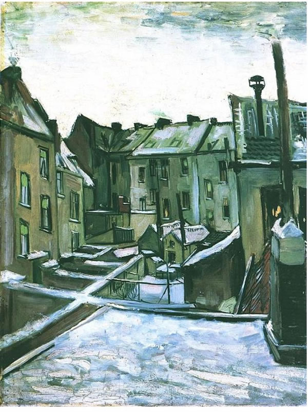 backyard of old houses in antwerp in the snow - Van Gogh - art