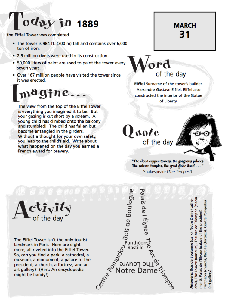 Happy Birthday Eiffel tower worksheet