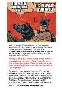 July 2014 stan carey post - cartoon of batman slapping robin for supposed grammar error