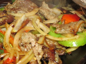 steak fajitas with steam