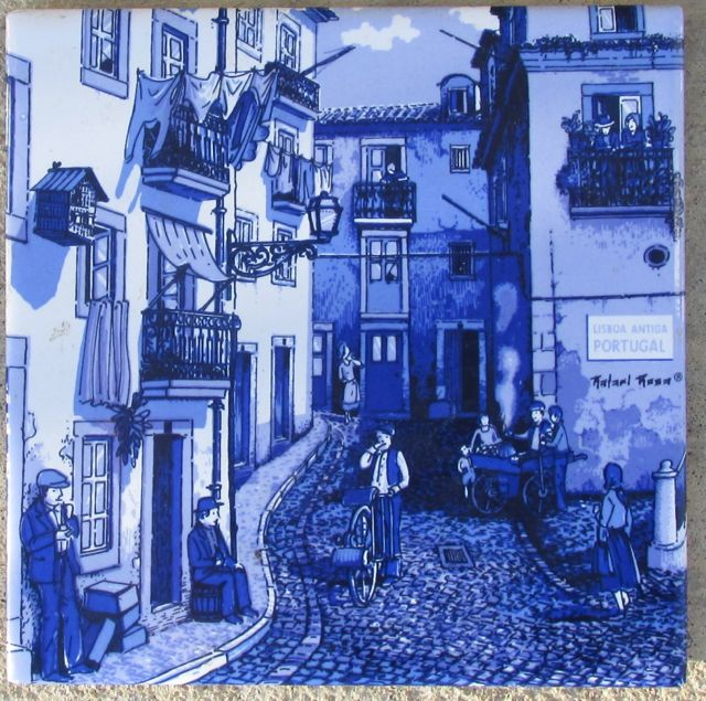 Vintage Ceramic Tile Lisboa Antiga Portugal_blue