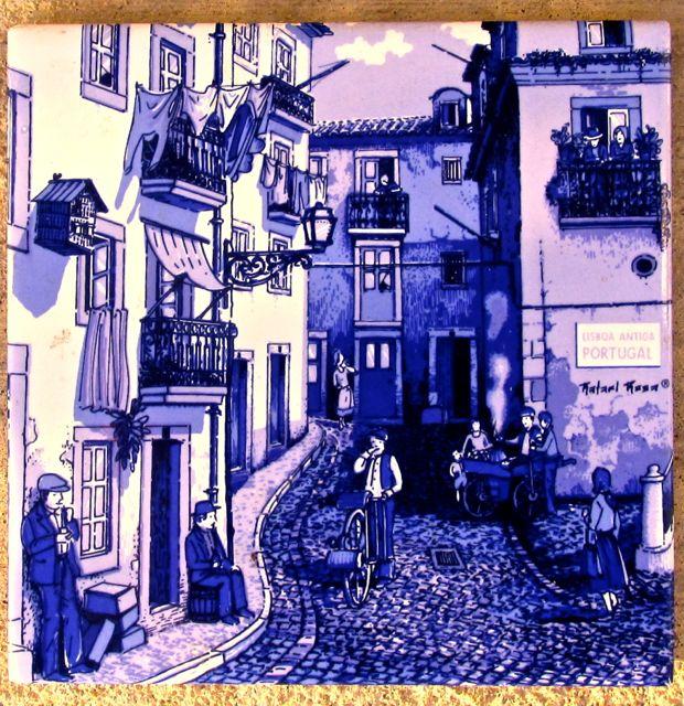 Vintage Ceramic Tile Lisboa Antiga Portugal_purple_hue
