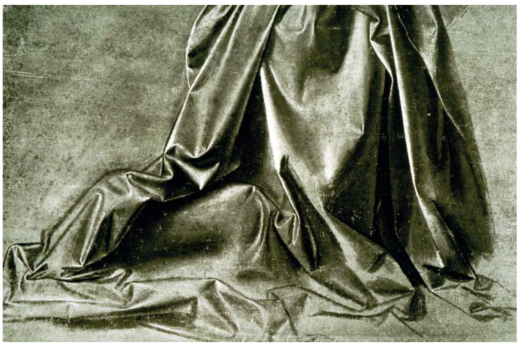 detail of drapery study da Vinci 1496