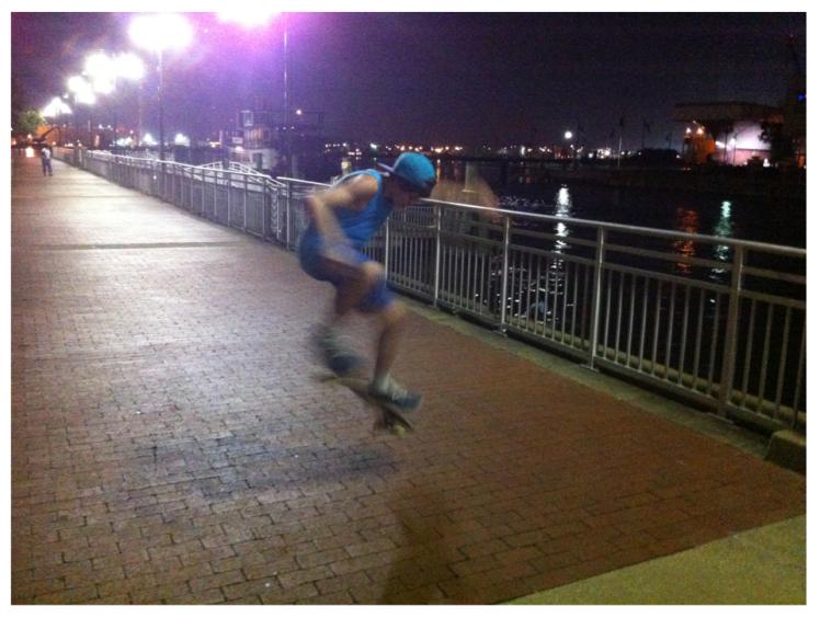 split-second photo - skateboard in air-priorhouse 2014