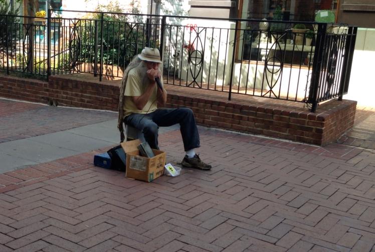 street portrait - 10- harmonica street musician charlottesville va 2014 - priorhouse