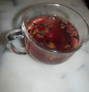 blueberry bliss tea in clear glass mug - priorhouse 2014