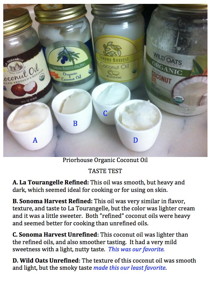 priorhouse coconut oil taste test - 2014