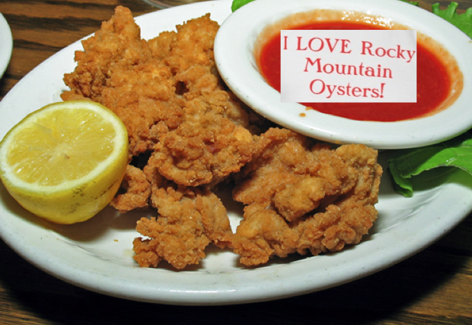 rocky mountain oysters on a plate -
