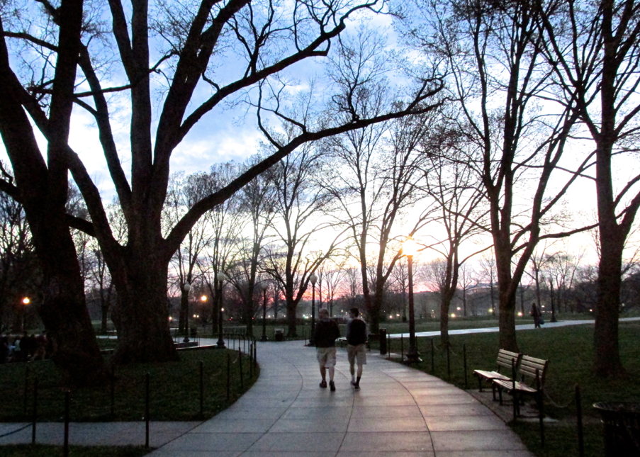 two guys walking path in dc