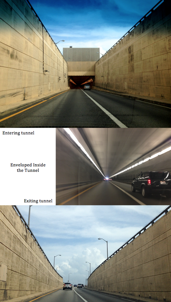 enveloped in the tunnel