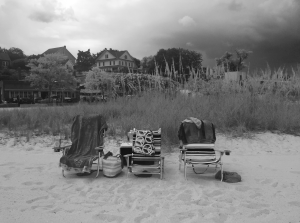 three beach chairs