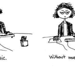 comic music with or without