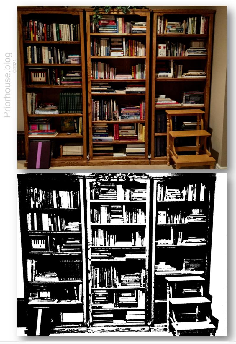 lens same pic book shelf