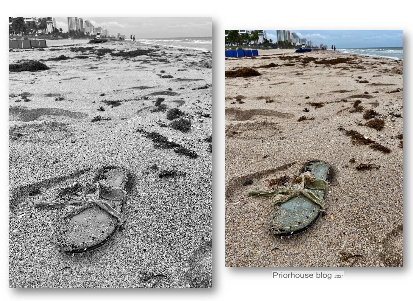lens-same pic- shoe on beach